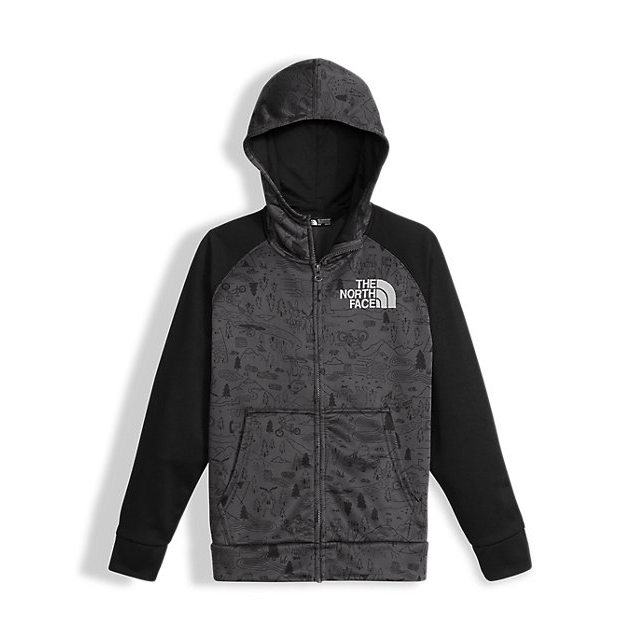 Discount NORTH FACE BOYS\' SURGENT FULL ZIP HOODIE GRAPHITE GREY CRITTER SURGENT PRINT ONLINE