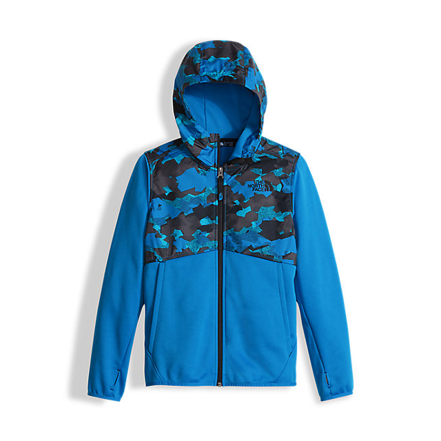 Discount NORTH FACE BOYS\' KICKIN IT HOODIE CLEAR LAKE BLUE GEO PLATE CAMO PRIN ONLINE