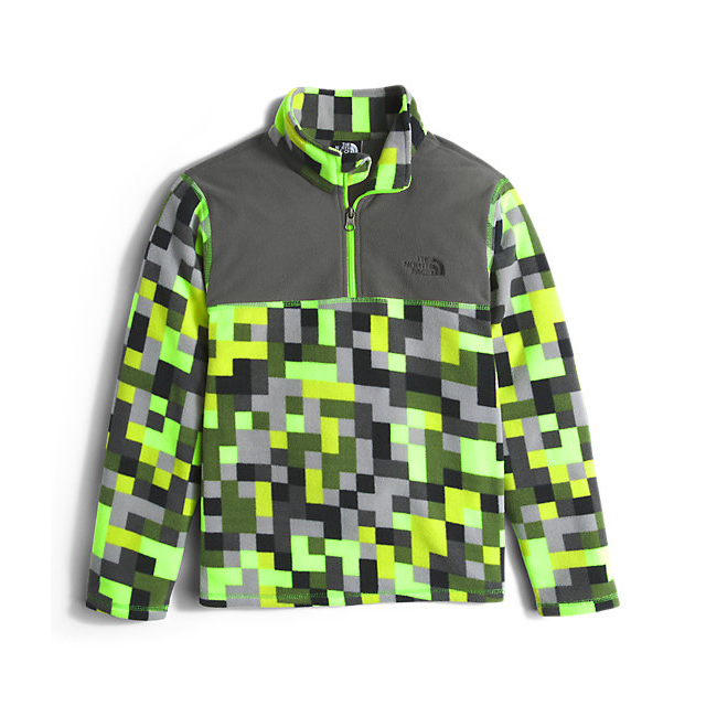 Discount NORTH FACE BOYS' GLACIER 1/4 ZIP SAFETY GREEN PIXEL PRINT ONLINE