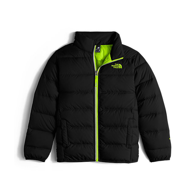 Discount NORTH FACE BOYS' ANDES DOWN JACKET BLACK / SAFETY GREEN ONLINE