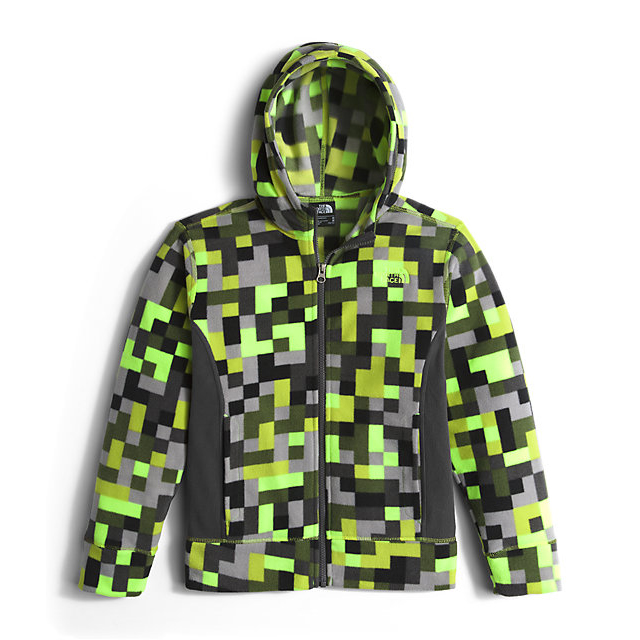 Discount NORTH FACE BOYS' GLACIER FULL ZIP HOODIE SAFETY GREEN PIXEL PRINT ONLINE