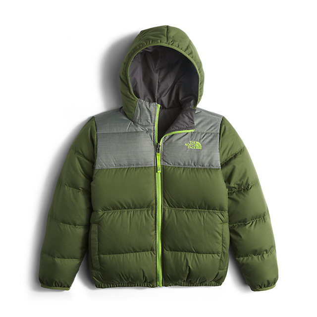 Discount NORTH FACE BOYS\' REVERSIBLE MOONDOGGY DOWN JACKET TERRARIUM GREEN ONLINE