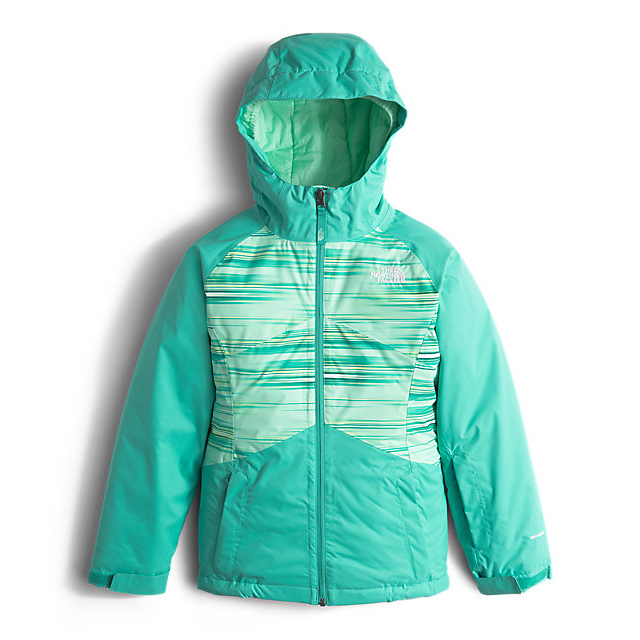Discount NORTH FACE GIRLS' BRIANNA INSULATED JACKET ICE GREEN FAST STRIPE ONLINE