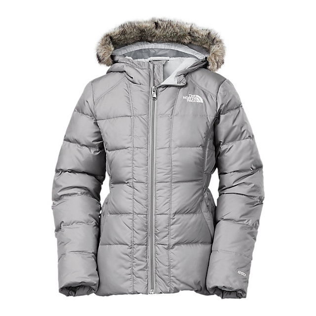 Discount NORTH FACE GIRLS' GOTHAM DOWN JACKET METALLIC SILVER / HIGH RISE GREY ONLINE