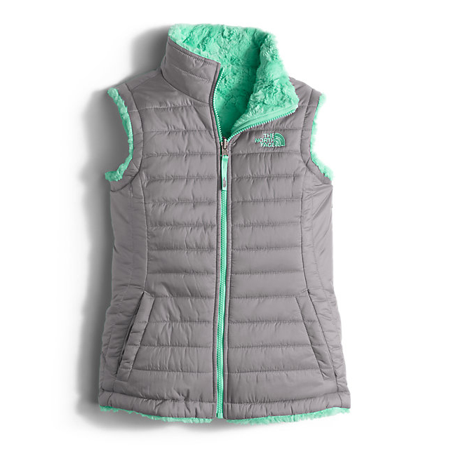 Discount NORTH FACE GIRLS\' REVERSIBLE MOSSBUD SWIRL VEST METALLIC SILVER ONLINE