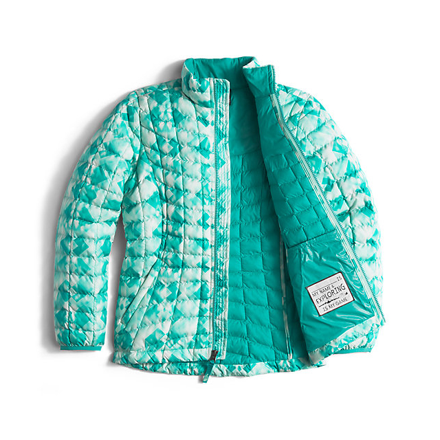Discount NORTH FACE GIRLS\' THERMOBALL FULL ZIP JACKET ICE GREEN GEO PRINT ONLINE
