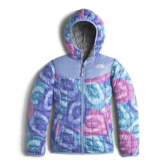 Discount NORTH FACE GIRLS' REVERSIBLE THERMOBALL HOODIE GRAPEMIST BLUE CRYSTAL PRINT ONLINE