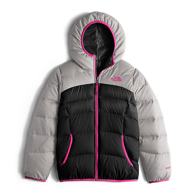 Discount NORTH FACE GIRLS' REVERSIBLE MOONDOGGY DOWN JACKET METALLIC SILVER HEATHER ONLINE