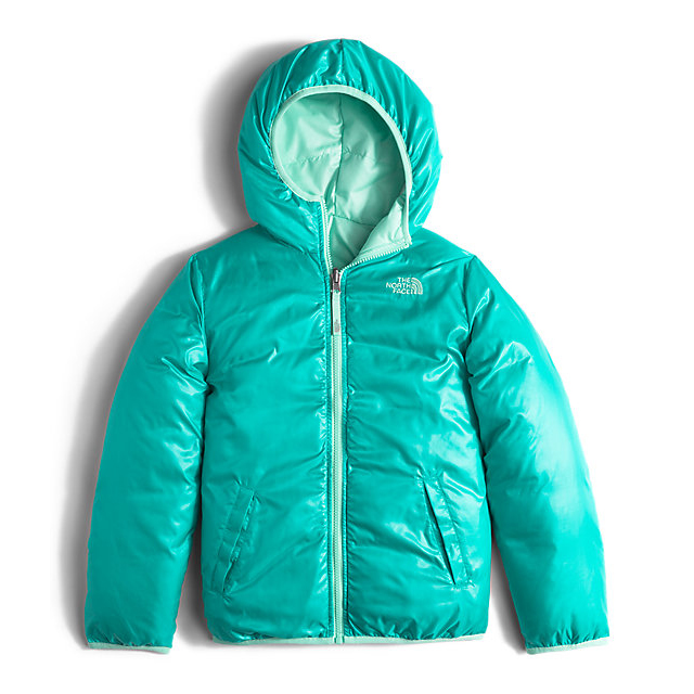 Discount NORTH FACE GIRLS\' REVERSIBLE MOONDOGGY DOWN JACKET ICE GREEN HEATHER ONLINE
