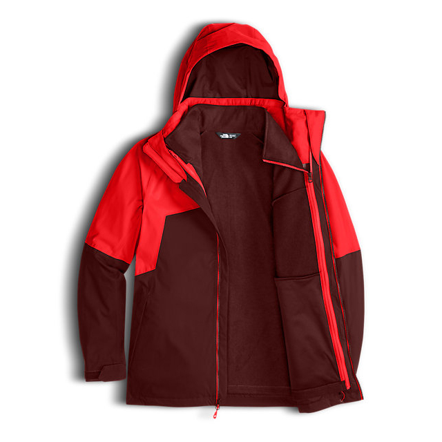 Discount NORTH FACE MEN\'S GAMBIT TRICLIMATE JACKET FIERY RED/HOT CHOCOLATE BROWN ONLINE
