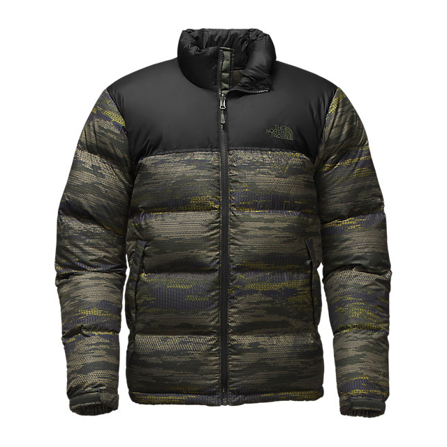 Discount NORTH FACE MEN'S NUPTSE JACKET ROSIN GREEN GLAMO PRINT/BLACK ONLINE