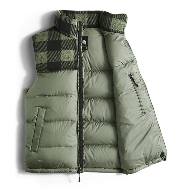 Discount NORTH FACE MEN\'S NUPTSE VEST DUCK GREEN/DUCK GREEN GRIZZLY PRINT ONLINE
