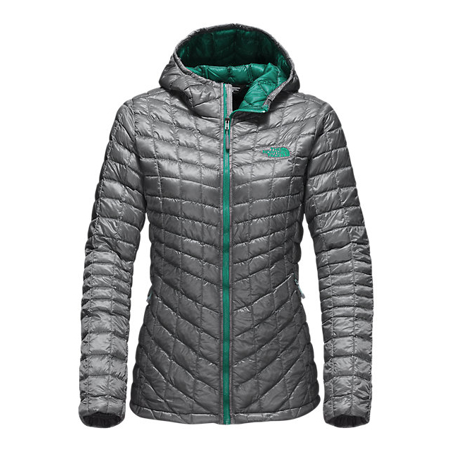 Discount NORTH FACE WOMEN'S THERMOBALL HOODED JACKET MID GREY/CONIFER TEAL ONLINE