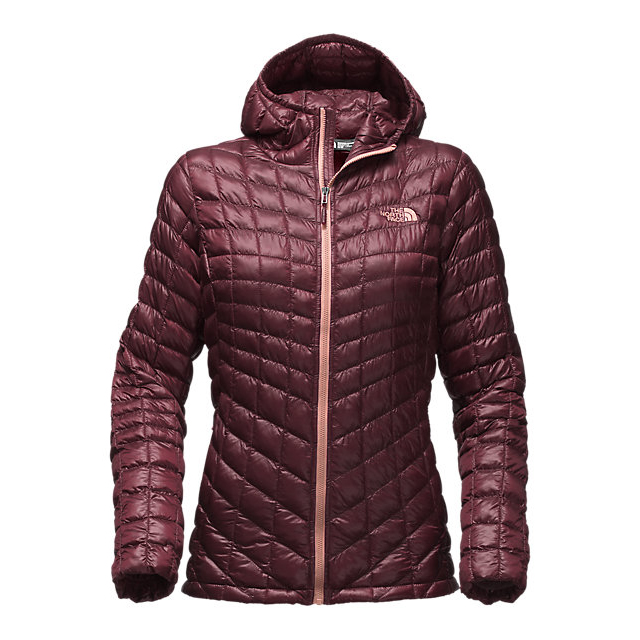 Discount NORTH FACE WOMEN'S THERMOBALL HOODED JACKET DEEP GARNET RED ONLINE