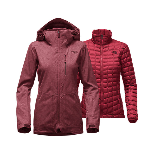 Discount NORTH FACE WOMEN'S THERMOBALL SNOW TRICLIMATE PARKA DEEP GARNET RED HEATHER ONLINE