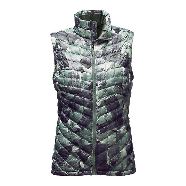 Discount NORTH FACE WOMEN'S THERMOBALL™ VEST BALSAM GREEN SWASHED PRINT ONLINE