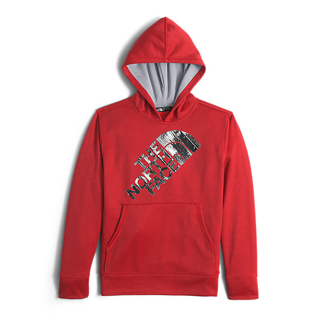 CHEAP NORTH FACE BOYS' SURGENT PULLOVER HOODIE RED HEATHER ONLINE