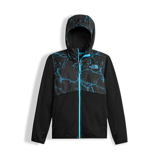 Discount NORTH FACE BOYS\' KICKIN IT HOODIE CASCADE BLUE LIGHTNING TAFFETA PRINT ONLINE