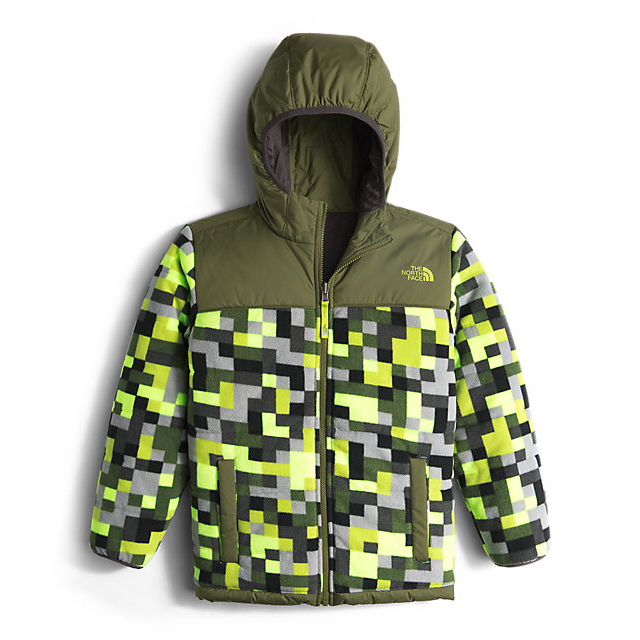 Discount NORTH FACE BOYS\' REVERSIBLE TRUE OR FALSE JACKET SAFETY GREEN PIXEL PRINT ONLINE