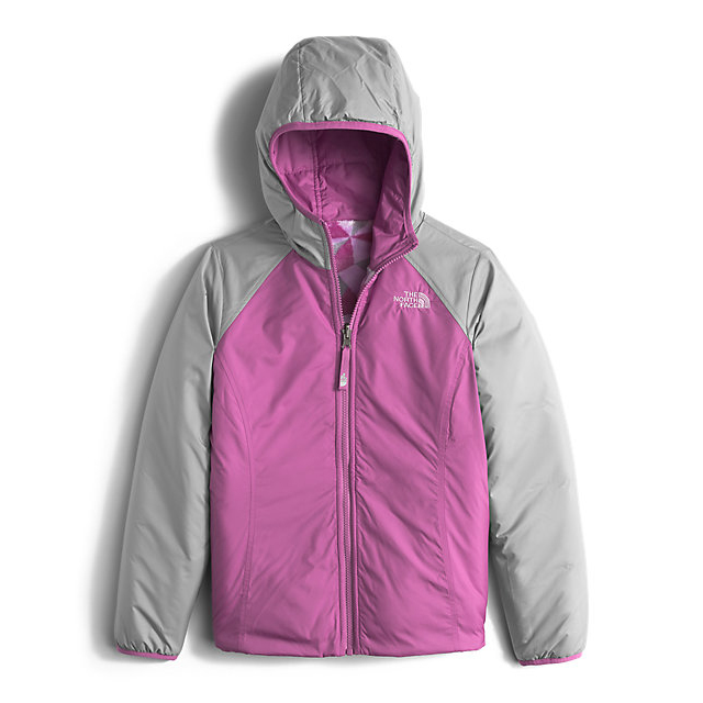 Discount NORTH FACE GIRLS\' REVERSIBLE PERSEUS JACKET WISTERIA PURPLE TRIANGLE CAMO ONLINE