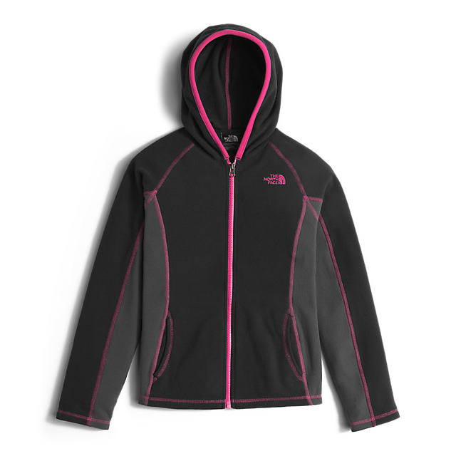 Discount NORTH FACE GIRLS' GLACIER FULL ZIP HOODIE BLACK/CABARET PINK ONLINE