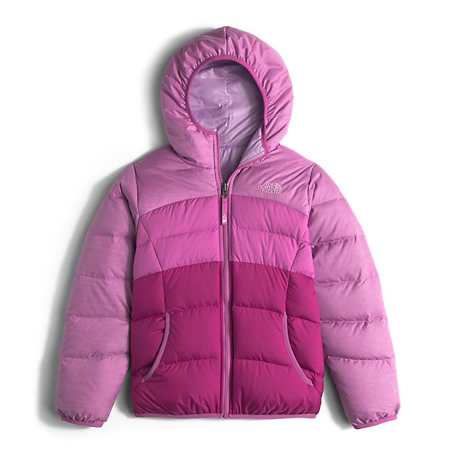 Discount NORTH FACE GIRLS' REVERSIBLE MOONDOGGY DOWN JACKET WISTERIA PURPLE HEATHER ONLINE