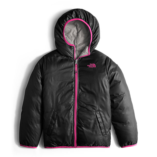 Discount NORTH FACE GIRLS\' REVERSIBLE MOONDOGGY DOWN JACKET METALLIC SILVER HEATHER ONLINE