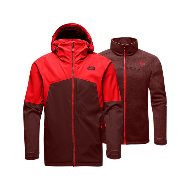 Discount NORTH FACE MEN'S GAMBIT TRICLIMATE JACKET FIERY RED/HOT CHOCOLATE BROWN ONLINE