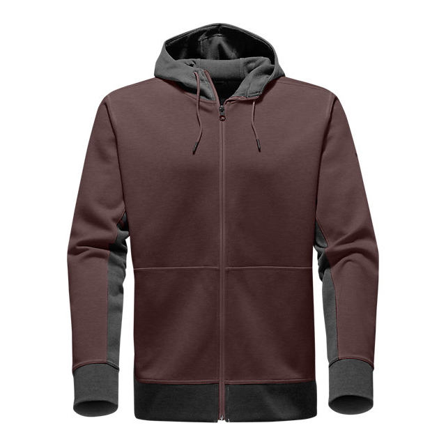 CHEAP NORTH FACE MEN'S SLACKER FULL ZIP HOODIE ROOT BROWN DARK HEATHER/DARK GREY HEATHER ONLINE