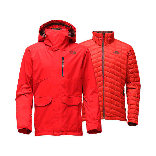 Discount NORTH FACE MEN\'S THERMOBALL SNOW TRICLIMATE PARKA FIERY RED ONLINE
