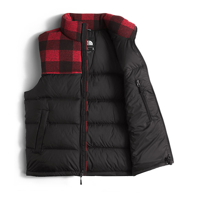 Discount NORTH FACE MEN\'S NUPTSE VEST BLACK/CARDINAL RED GRIZZLY PRINT ONLINE