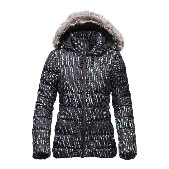 Discount NORTH FACE WOMEN'S GOTHAM DOWN JACKET BLACK DONEGAL PRINT ONLINE