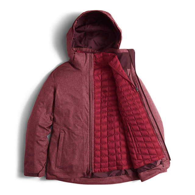 Discount NORTH FACE WOMEN\'S THERMOBALL SNOW TRICLIMATE PARKA DEEP GARNET RED HEATHER ONLINE